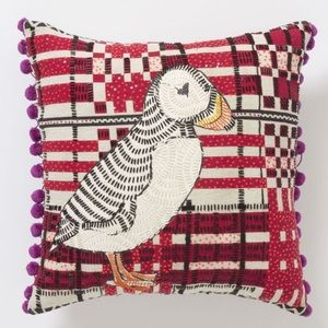 Anthropologie Beaded Puffin Pillow